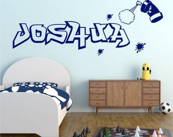 GRAFFITI Spray Can Paint Splats Personalised ANY NAME Boys Girls Childrens Bedroom Vinyl Matt Wall Art Sticker Decal Transfer 20 colours