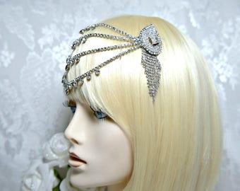 Gatsby Headpiece, Art Deco 1920s roaring 20s Crystal Flapper Frontlett headpiece Great Gatsby Wedding, Gatsby Accessories Gatsby dress party