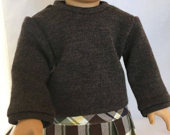 18 Inch Doll Clothes - Pullover Sweater and Pleated Plaid Skirt for American Girl or other 18 Inch Doll