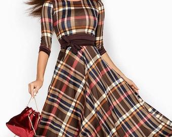Plaid Dress Casual Jersey dress floor Maxi Dress long sleeve Spring dress womens Checkered dress Autumn Holiday Dress Brown Plaid gown
