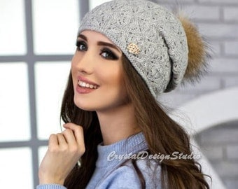 Gray Winter hat Wool hat for women Knitted hat pompon Wool winter hat White Chunky Knit Hat Wool hat Autumn clothes Beanie Fall Apparel