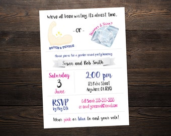 Rough and Tumble or Shimmer and Shine // Custom Gender Reveal Party Invitation // 4x6 or 5x7 // High Resolution Digital Download JPG & PDF