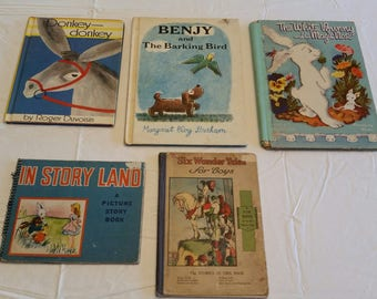 5 antique childrens books / kids storybooks - picture story donkey benjy white rabbit story land six wonder tales - vintage reading bedtime