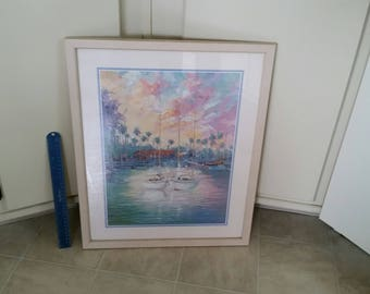 """framed laforet litho print 17""""x21"""" two sailboats 1980's - twin nautical vessels photo portrait ocean pastel colors wall hanging art decor"""