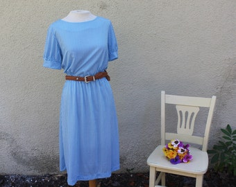 Country Lane Dress | 1970's Blue and White Striped Midi Dress - M