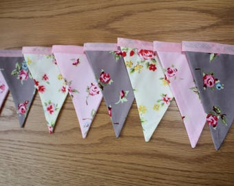 Floral bunting, pink and grey bunting, shabby chic bunting, floral banner, pink and grey banner, pink rose bunting