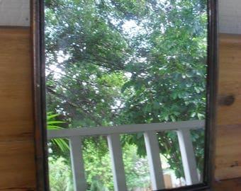 Vintage Rattan Wicker Bamboo Framed Wall Mirror Bombay Style Decor