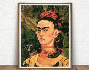 Frida Kahlo Self Portrait With Monkey Printable, Frida Kahlo Artwork, Art Reproduction, Boho Decor, Cottage Wall Art, Frida Kahlo Poster