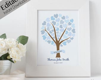 Editable Baptism Guest Tree, INSTANT DOWNLOAD, Boy Baptism, Poster baptism, LDS baptism decoration, Heart blue boy Baptism Guest 11x14, 8x10