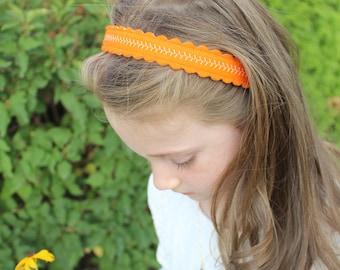 Merino Wool Felt Headband - Orange / Embroidered Headband / Girl's Fashion / Hair Accessories / Mommy and Me