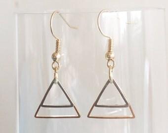 Rose Gold Silver Triangle Twins Hoops Drop Earrings / Minimalist Simple Boucles d'Oreilles Dorées Argentées / Chic Stylish BO / Gift Idea