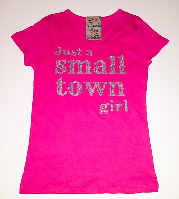 Just a Small Town Girl, Little Girls Fine Jersey V-Neck T-shirt in Sizes XS-Xl in 14 Colors