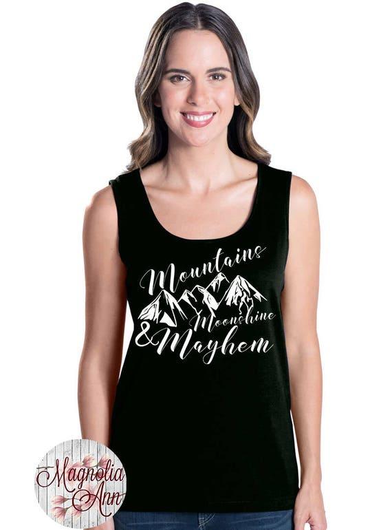 Mountains, Moonshine, & Mayhem, Bridal Party Tanks, Bride, Bridesmaid, Wedding, Women's Premium Jersey Tank Top Sizes Sm-4X, Plus Size