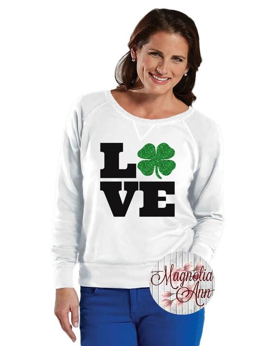 Love Four Leaf Clover, Shamrock Sweatshirt, Sizes Small-4X, Plus Size Sweatshirt, St Patrick's Day Shirt, St Patrick's Day Sweatshirt