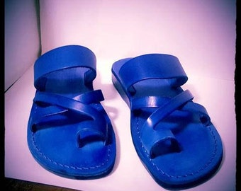 Blue Color Leather   Jesus toe sandals for men , can serve for women too come in brown and black color  , made in Jerusalem .