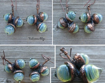 Earrings with 3 lampwork glass acorns and electroformed branch