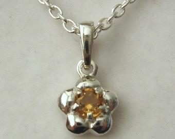 Genuine SOLID 925 Sterling Silver November Birthstone Daisy Citrine Pendant