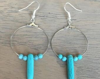 Earrings hoop earrings turquoise beads