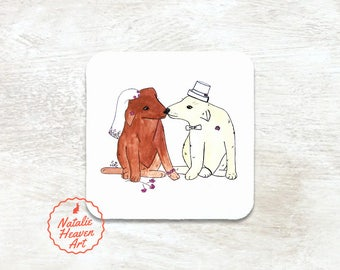 Wedding Dogs Personalized Coaster, Personalised Wedding Coasters Set, Dog Wedding Gift, Bride and Groom Gift, Country Wedding Table Decor