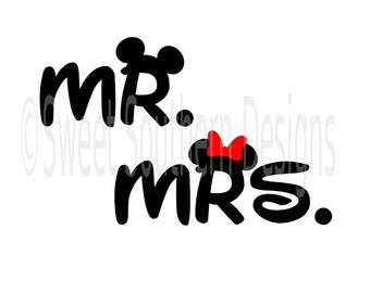 Mr and Mrs Disney family shirt design Mickey Mouse SVG instant download design for cricut or silhouette