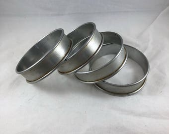 Vintage Crumpet Rings - Crumpet Rings - Set of 4 Rings - Pastry Molds - Make Crumpets - Aluminum Crumpet Rings - Vintage Molds