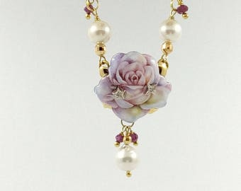 Enamelled and hand-painted choker depicting a rose