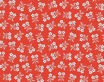 By The HALF YARD - Strawberry Biscuit by Elea Lutz for Penny Rose, #C5106-AQUA, Tossed White Daisies with Blue Centers Bouquets on Red