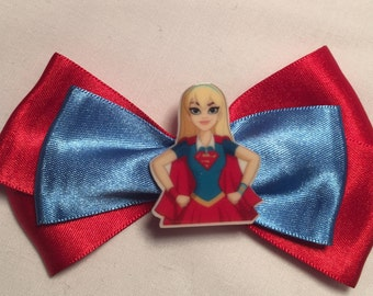 Satin DC Supergirl hair bow / headband / clip