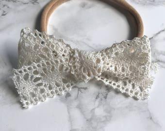 Crochet Bow on Clip or Headband