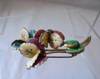 Lovely 30s/40s Enamel Flower Spray Brooch with Rhinestone Accents