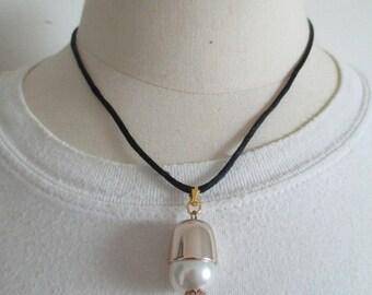 Necklace big bead on satin cord
