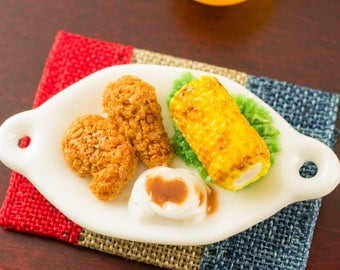 Fried Chicken with Corn on the Cob and Mashed Potatoes - 1:12 Dollhouse Miniature