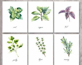 Herbs Print, Kitchen Print, Kitchen Printable, Watercolor Herbs, Botanical Printable, Kitchen Decor, Herbs Wall Art, Herbs Printable
