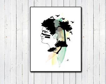 Lost Boy Print, Nature Lover, Peter Pan, Color Splash, Trees, Watercolor Portrait, Original Artwork,