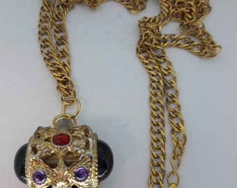 Cabochon Jeweled Whistle Vintage Gold Plated Necklace