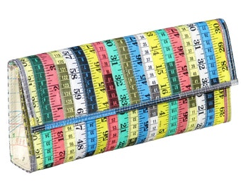 Clutch purse made from measuring tape - FREE SHIPPING - Vegan clutch handbags, evening clutch, Upcycled bag gifts, Unique Evening Bag
