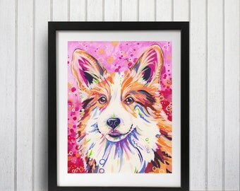 Corgi Dog art print, Corgi lover gift, Welsh corgi, Corgi owner gift, Corgi, Corgi decor, Corgi wall art
