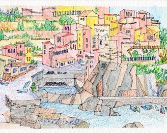 Mandala Sunset, Watercolor Postcard A6, Cinque Terre Italy, Home Decor