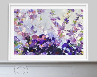Abstract Oil painting Violet flowers, framed art, gift for her, original oil painting, Pink Abstract Art, Modern Art, Flowers On Canvas