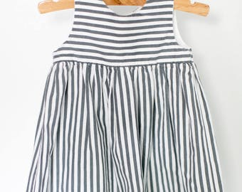 Blue and White Striped Dress with Red Buttons