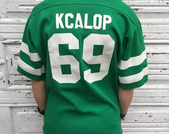Vintage 80s Rawlings NFL Football Green White #69 Athletic Sport Jersey - Medium - Made In USA