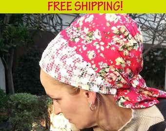 Charming red floral tichel,Cotton,Lace,Chemo hat,Head cover,Fresh and cool,Jewish tichel,Mitpachat,Apron,Sinar,Israel,Flowers,Head scarf