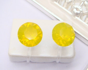 Yellow Opal Swarovski crystal Invisible clip on earrings, Clip On Earrings,non pierced earring,Clip-ons,gift for women