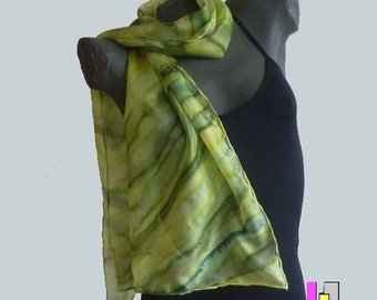 Light Khaki, painted on silk scarf. Unique signed and hemmed hand