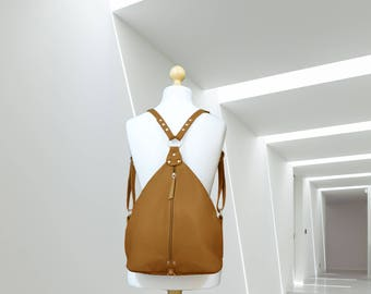 Leather backpack purse minimalist brown leather rucksack Leather Shoulder Bag college knapsack cow backpack triangular bicycle rucksack