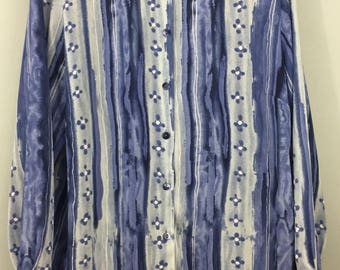 Vintage 1980s Marks & Spencer blue floral striped shirt top UK 14/16