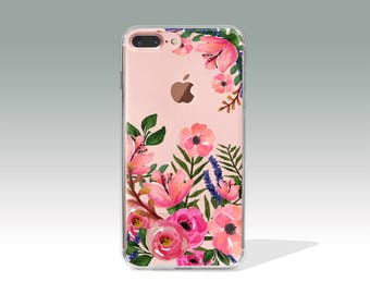 Floral iPhone 7 Case, Christmas Gift, iPhone 7 Plus Case i7 Case Clear iPhone 6 Case iPhone 6s Plus Case i6 Case iPhone Case  //258