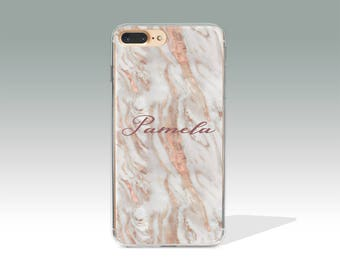 Personalized iPhone 8 Case iPhone 7 Plus Case Rose Marble iPhone 7 Case iPhone 8 Plus Case Custom Name Birthday Customized Gift PC/12