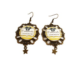 """Funny insult - words sweet """"Miss cheeky"""" earrings"""