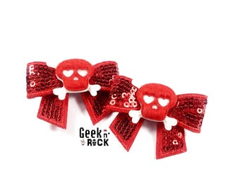 Rock - halloween skull punk rock skull hair clips